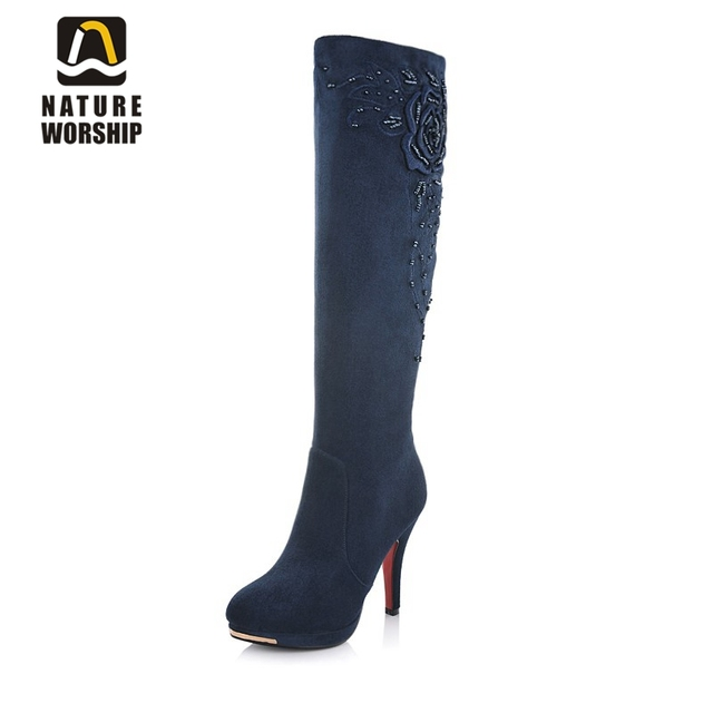 Hot sales women shoes snow winter motorcycle boots fashion high heels knee high boots flock leather beading sexy lady long boots
