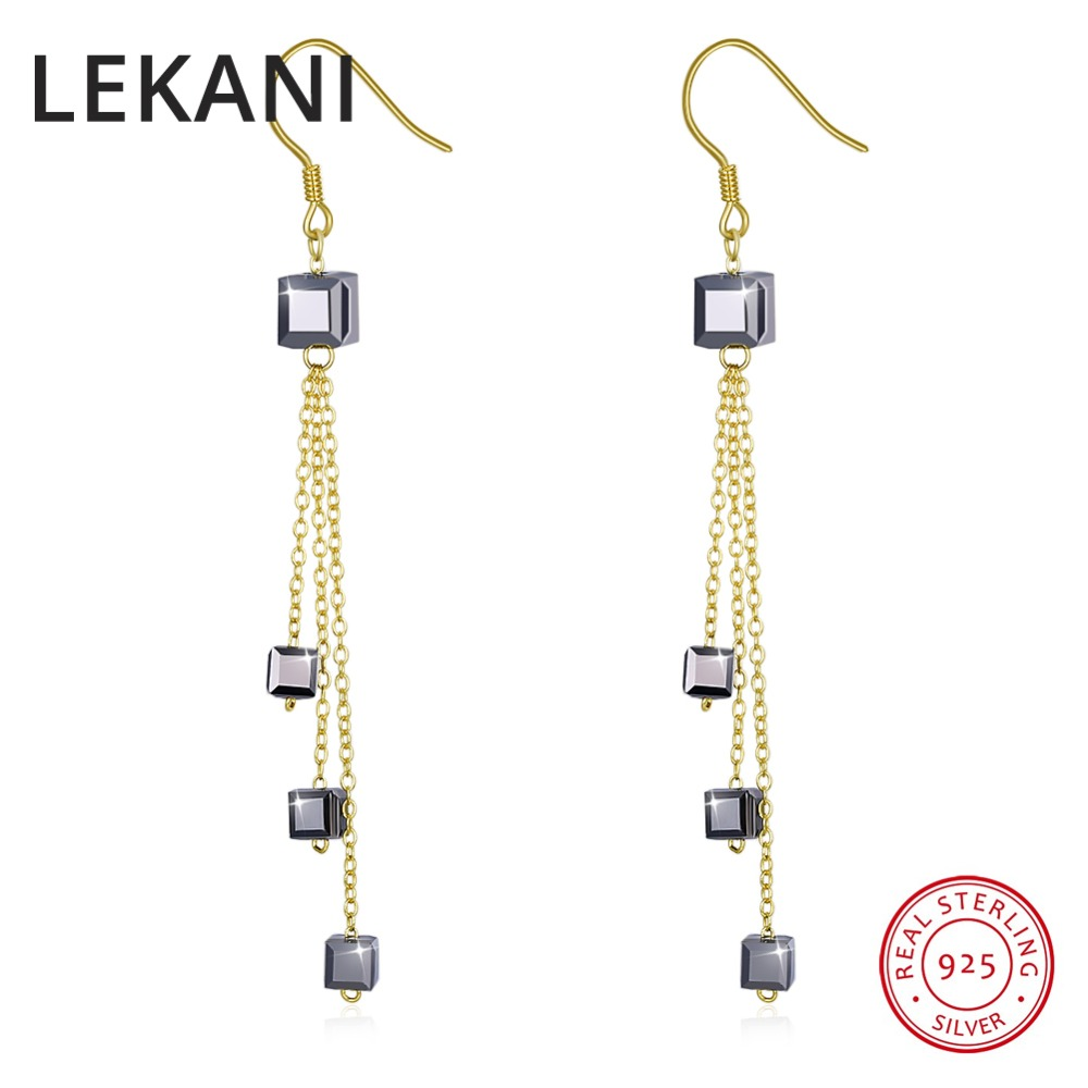 Jewelry & Accessories Fine Jewelry Lekani Crystals From Swarovski Elements Gold Color Long Chain Cube Beads Drop Earrings S925 Sterling Silver Women Fine Jewelry