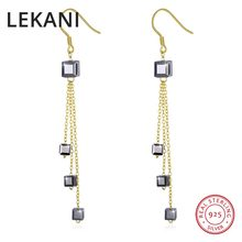 15fbcc1cc LEKANI Crystals From SWAROVSKI ELEMENTS Gold Color Long Chain Cube Beads  Drop Earrings S925 Sterling Silver Women Fine Jewelry