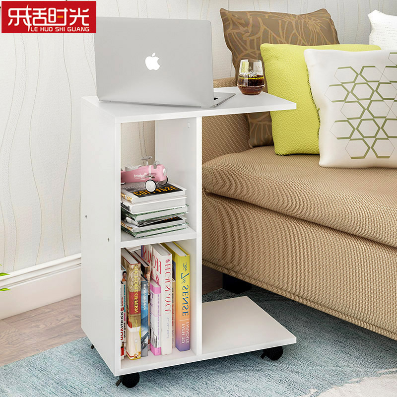 Wooden Mobile Computer Desk with Storage Cabinet 2 Cubes Minimalist Bookcase Portable Creative Multi Functional Bedside Table