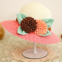 The new Ms. summer hat woman wild leisure sun hat Folwers Large brimmed beach sun hat
