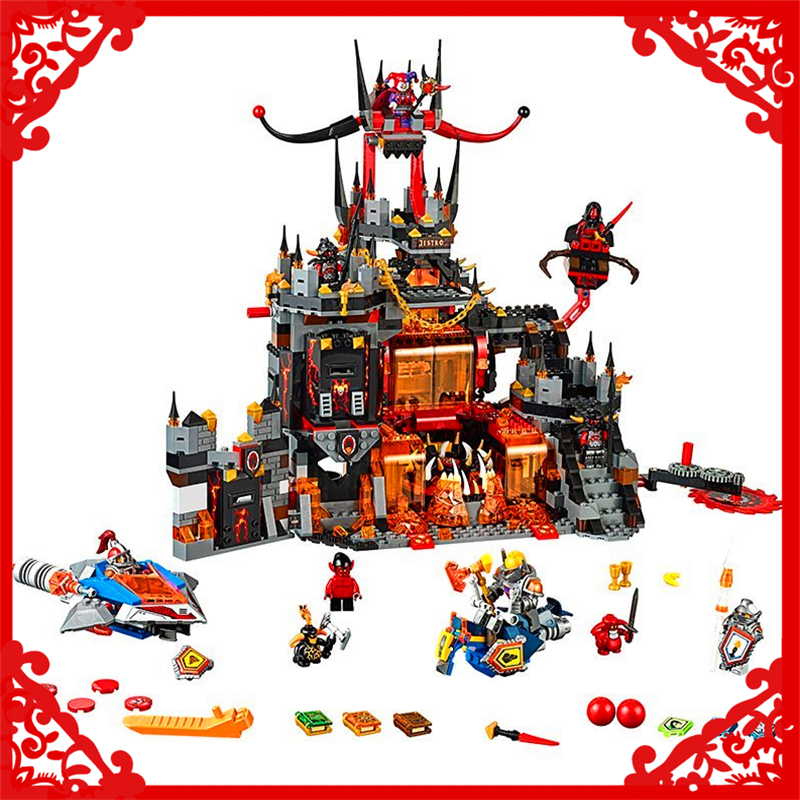 LEPIN 14019 1244Pcs Nexo Knights Axl Jestros Volcano Lair Marvel Building Block DIY  Toys For Children Compatible Legoe decool 3114 city creator 3in1 vehicle transporter building block 264pcs diy educational toys for children compatible legoe