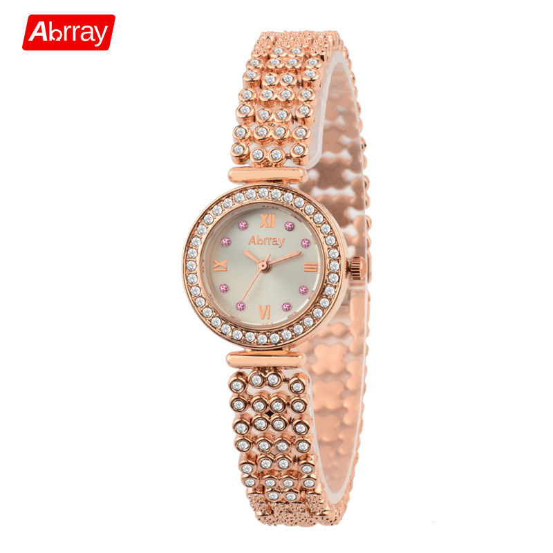 Abrray New Fashionable Gorgeous Feminine Rose Gold Watch Luxury Rhinestones Kvinnor Klockor Japan Movement Quartz Armbandsur