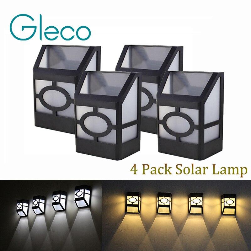 4 pacote de energia solar lampada de parede 2 leds movido a energia solar levou luz