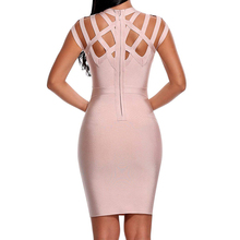 Hollow Out Knee Length Bodycon Bandage Dress