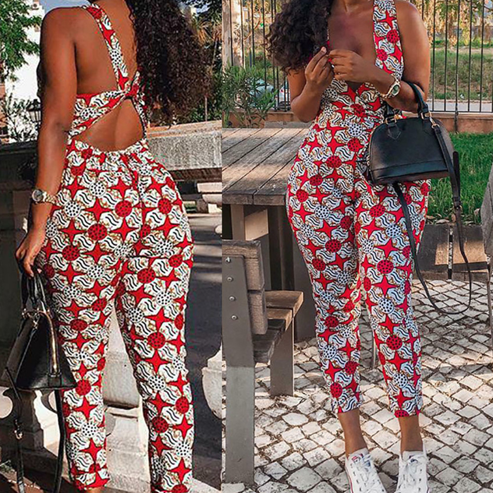 New Casual One Piece Print Women Jumpsuit Sleeveless Backless V Neck Regual Ankle Length Pants Ladies Romper Plus Size Jumpsuit