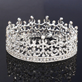 Full Circle Silver King And Queen Tiara Crystal Round Imperial Medieval Crown Wedding Bridal Hair Jewelry For Bride Accessories