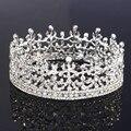 Full Circle Silver rey y la reina Tiara cristalina redonda Imperial Medieval corona Wedding la joyería del pelo para novia accesorios
