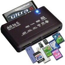 Tudo em Um Leitor de Cartão de Memória USB SD SDHC Externo Mini Micro M2 MMC XD CF Cartão de Ler e Escrever de Memória Flash Preto de Alta qualidade