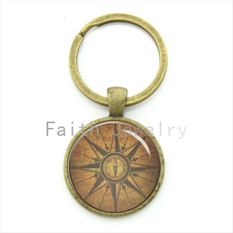 Antique Tone Compass Key Chain Vintage Nautical Pattern Keychain Navigator Boyfriend Gift Birthday KC559 In Chains From Jewelry