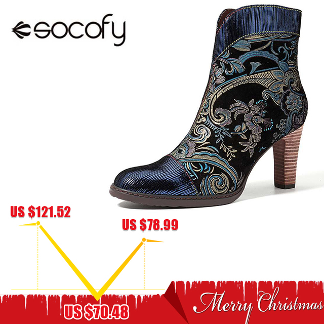 Socofy Retro Printed Sheep Leather Winter Boots Women Shoes Woman Vintage Block High Heels 8cm Ankle Boots Zipper Booties Botas
