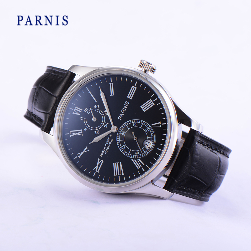 Parnis 44mm Chronograph Mechanical Wristwatch Black Dial Silver Number Automatic Self Wind Movement Watch Auto Date