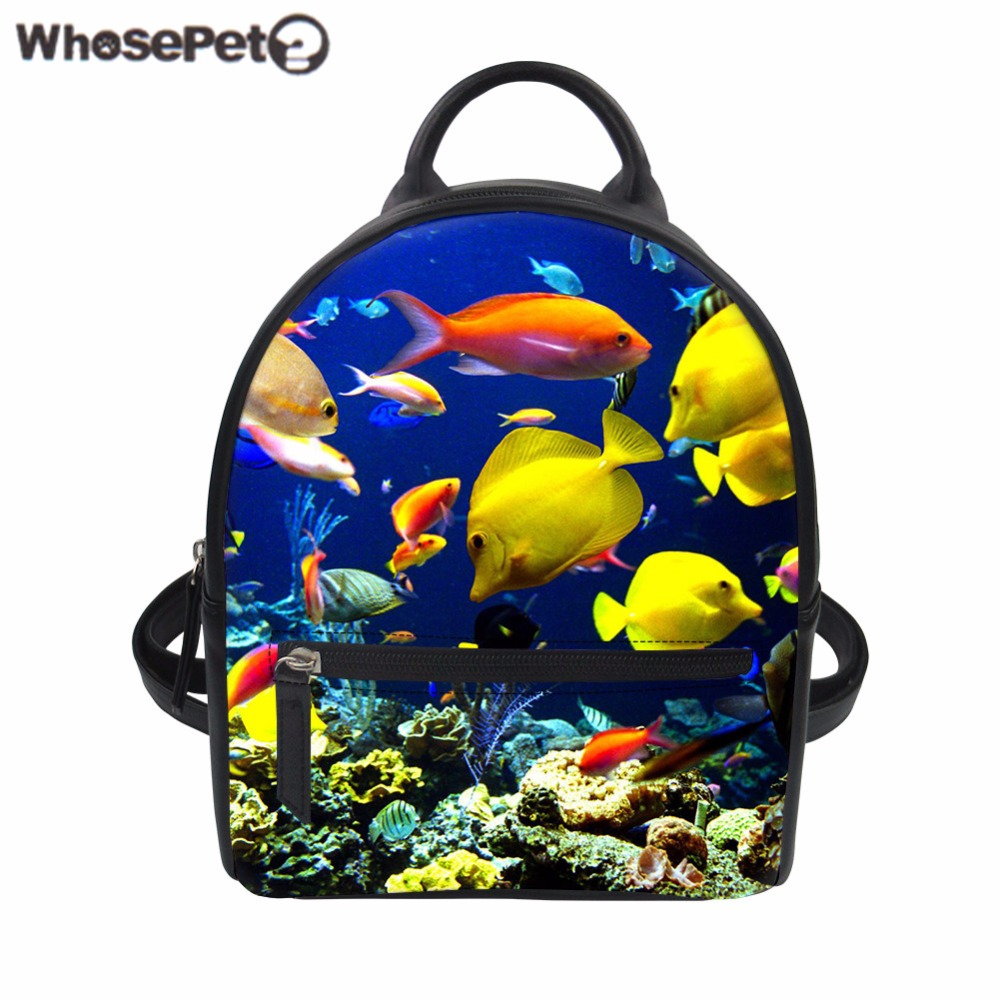 WHOSEPET sac à dos femmes PU cuir mer monde requin sac d'école pour adolescente filles dames sac à dos sac à dos mode Bolsa Mochila