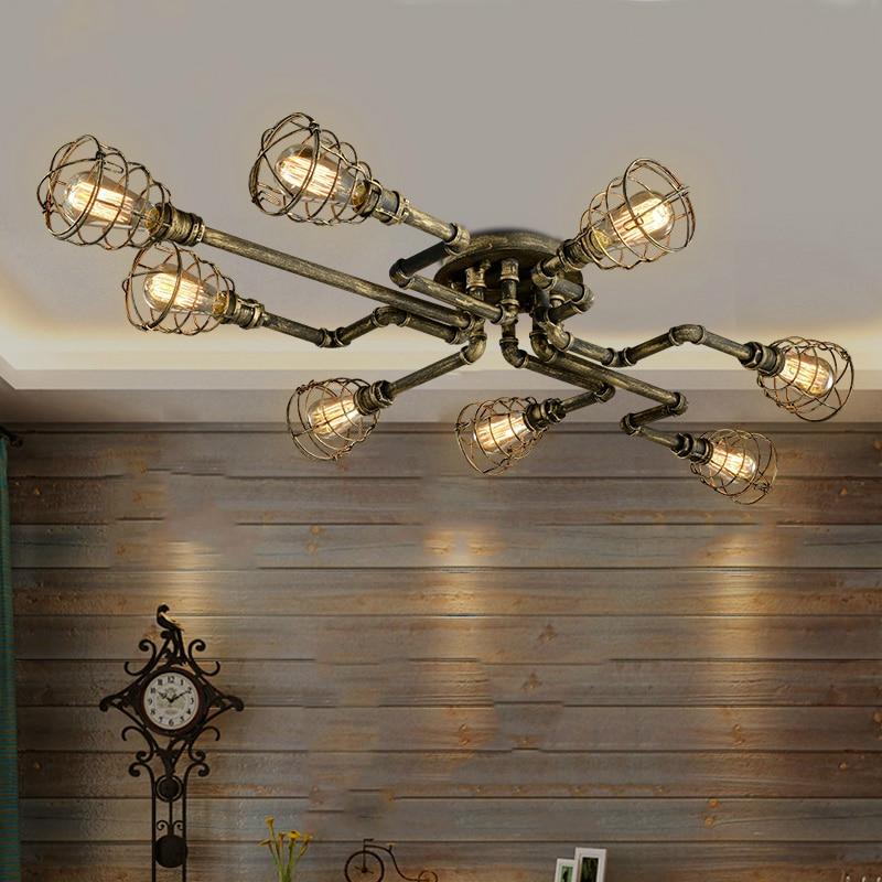 luminaria de teto retro aranha tubo de ferro lampada rustica decoracao industrial para bar cozinha cafe