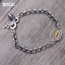 цены 925 sterling silver jewelry Virgin Mary men and women couples bracelet retro Thai silver