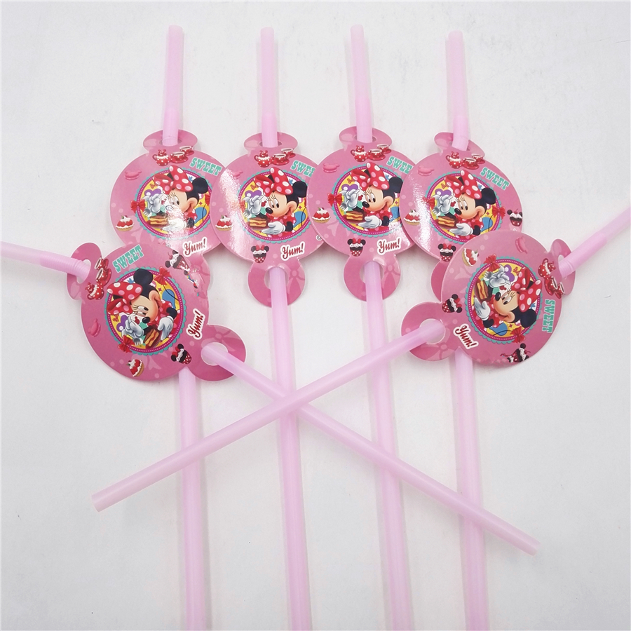 6pcs/set minnie mouse party supplies cartoon plastic drinking straws for girl happy birthday party festival decoration supplies