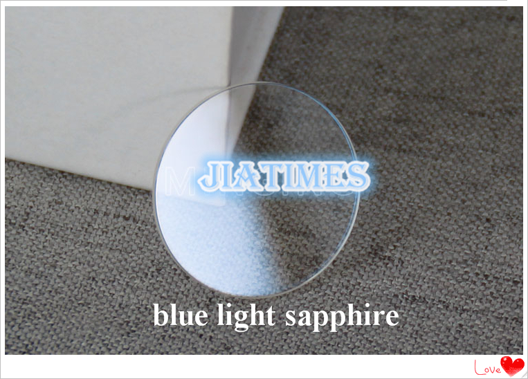 Free Shipping 1pc 1.2mm Thick Flat Blue Light Sapphire Size from 35.5mm to 40mm for Watch Replacement