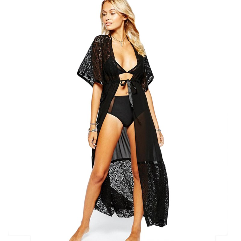 20102c9a4f Black / White Lace Bikini Cover Up Loose Floor Length Beach Dress Swimsuit  Cover ups Beach Tunic Wear RK31-in Cover-Ups from Sports & Entertainment on  ...