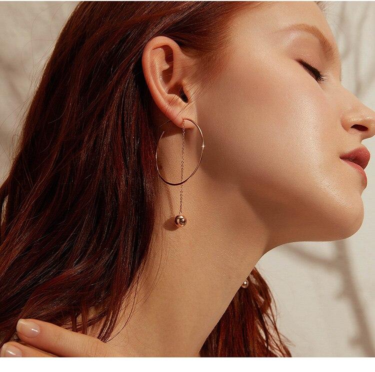 HTB1C6gGVHvpK1RjSZPiq6zmwXXa6 BAMOER Popular 100% 925 Sterling Silver Big Circle Round Long Chain Drop Earrings for Women Rock Style Earrings Jewelry SCE569