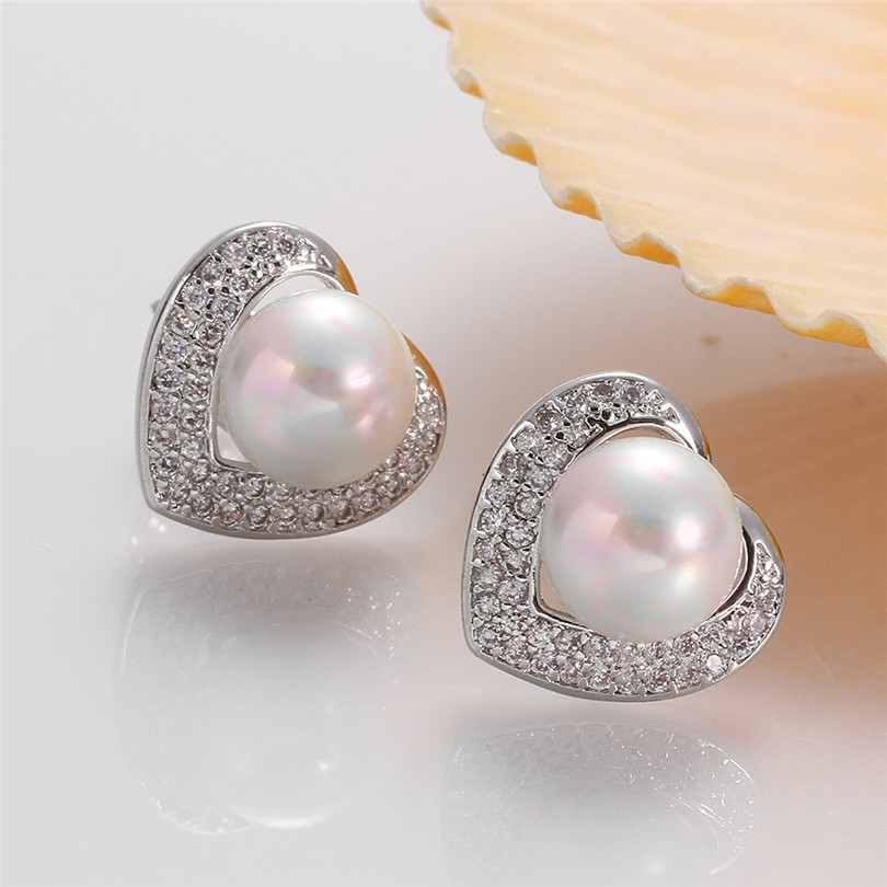 Unique Clic White Gold Pearl Stud Earrings Heart Shaped Elegant Fashion Jewelry Accessory For Women Gifts In From