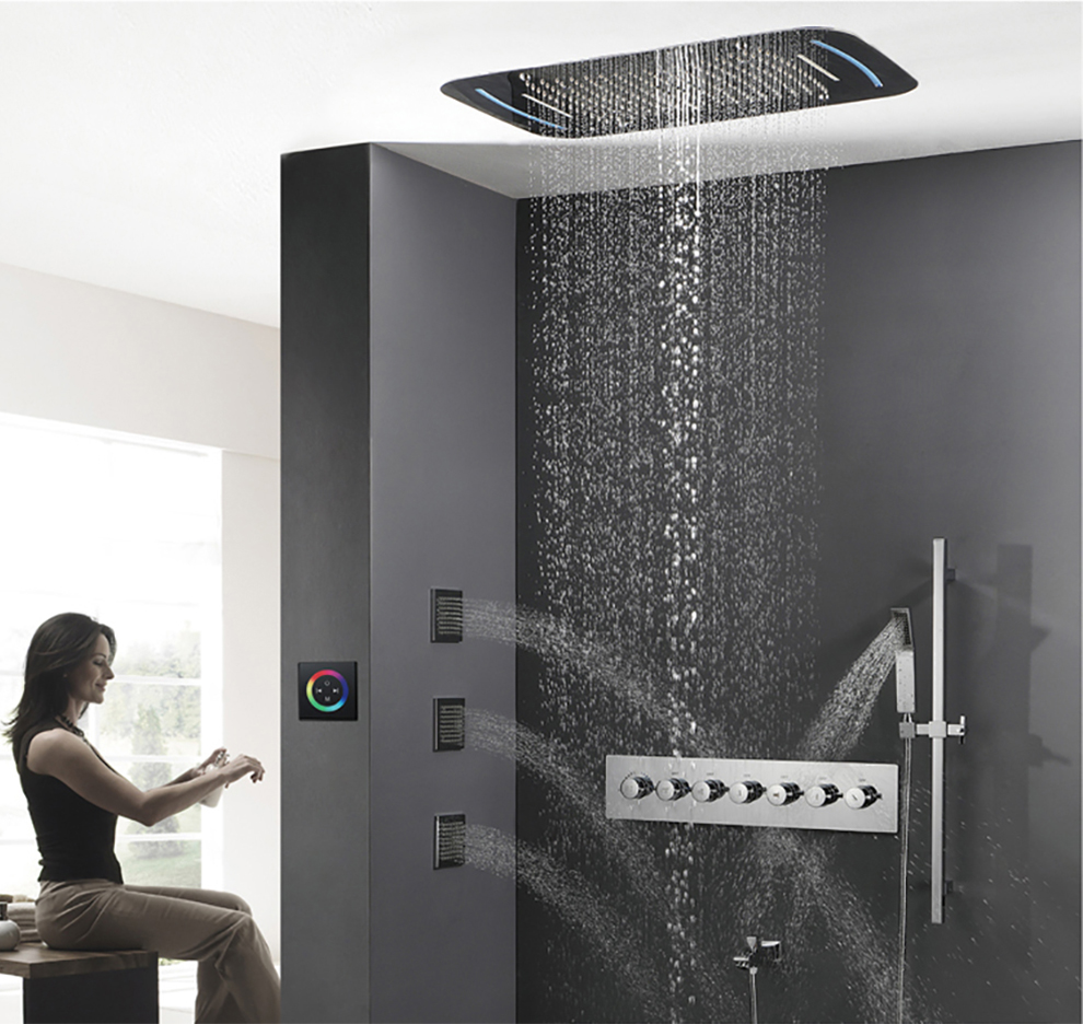 HIDEEP Embedded Rainfall Shower With LED Light Brass Bath Shower Faucet Bathroom Rain Mixer Shower Combo Set Thermostat Control bathroom shower faucet chrome or brushed led rain shower system set embedded box thermostat mixer valve control shower head way
