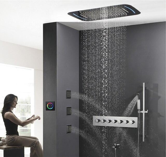 hideep embedded regendusche mit led licht messing badewanne dusche wasserhahn bad regen dusche combo set - Dusche Led Licht