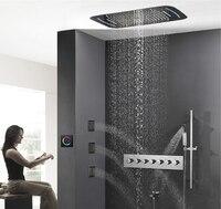 Hideep встроенный тропический душ с свет латунь Для ванной смеситель для душа Ванная комната дождь смеситель для душа комбинированный термост