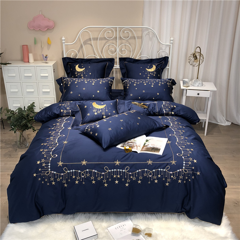 Luxury Egypt Cotton Good Night Stars Bedding Set Embroidery edging Duvet cover Bed Sheet Pillowcases Queen