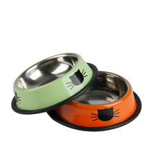1Pcs Cat Dog Food Bowl Stainless Steel Thick Pets Drinking Feeding Bowls Pet Supplies Anti-skid Dogs Cats Water Bowl Pet Tools