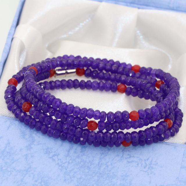 4 filas pulseras de múltiples capas púrpura jasper jade 2*4mm ábaco tallado diseño original joyería del corchete magnético B2769