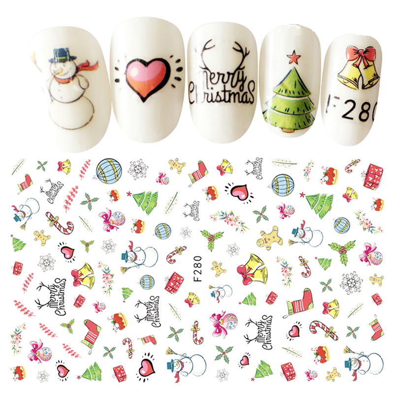 1 Sheet Beauty Christmas Style Nail Stickers 3D Nail Art Decorations Manicure DIY Tools For Charms Nails yzwle 1 sheet hot gold 3d nail art stickers diy nail decorations decals foils wraps manicure styling tools yzw 6015