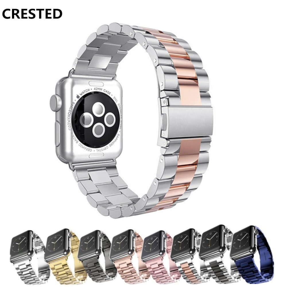 CRESTED Link bracelet For Apple watch band 42mm 38mm iwatch straps series 3/2/1 Stainless steel wrist bands belt Watchband crested crazy horse strap for apple watch band 42mm 38mm iwatch series 3 2 1 leather straps wrist bands watchband bracelet belt