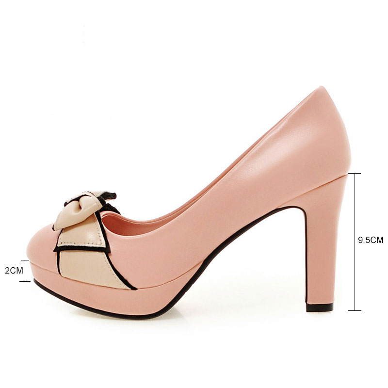 684194f39edf Fanyuan 2018 New Autumn Size 32-43 Fashion Vintage Woman Small Bowtie  Platform Pumps Ladies Sexy High Heeled Shoes For Women