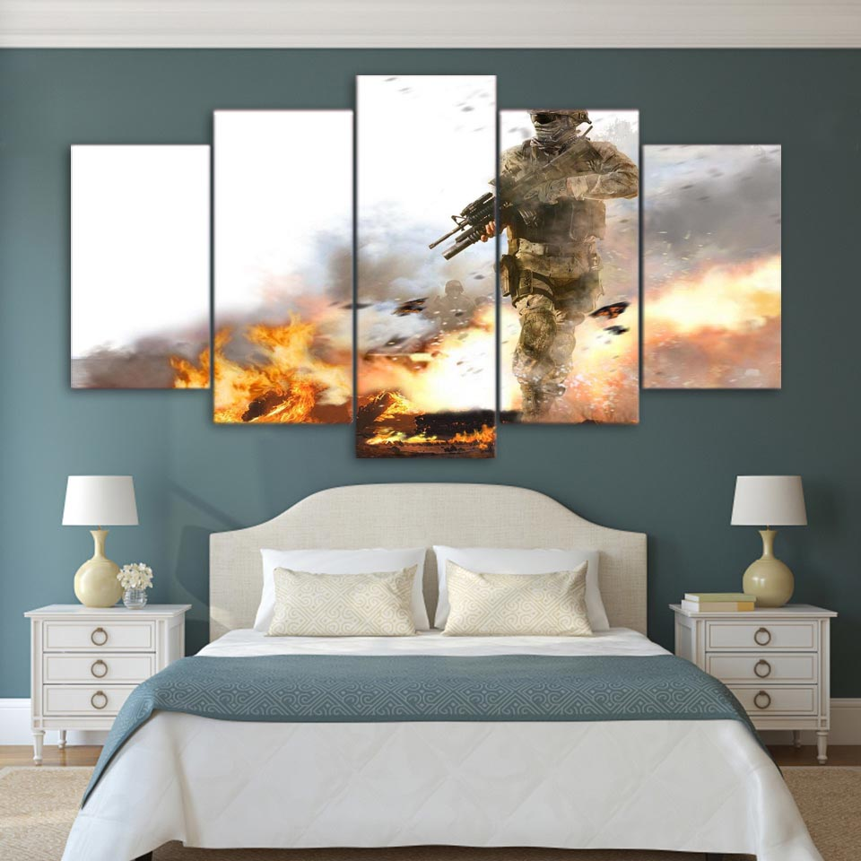 Pictures Frame HD Living Room Printed Modern Canvas 5 Panel Trees Battlefield Soldier Armed Home Decor Wall Art Painting Modular 1