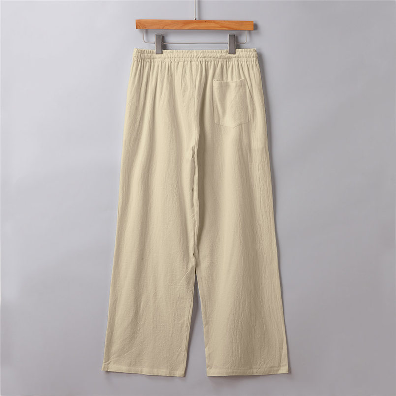 New Men Summer Fashion Trousers Linen Style Loose Casual Breathable Outdoor Solid Pants Sportswear Casual Straight Pants #4R06 (8)