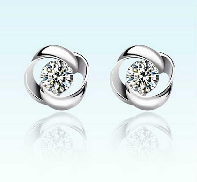 Monili All'ingrosso di Modo OMHXZJ Rotary amore AAA zircone 925 orecchini in argento sterling YS09