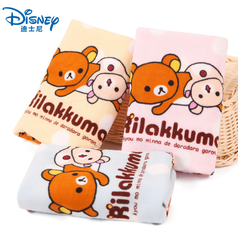 Home & Garden Cute Cartoon Rilakkuma Soft Cotton Square Towel Absorbent Face Travel Towel For Kids Adults Character Handkerchief 35cm