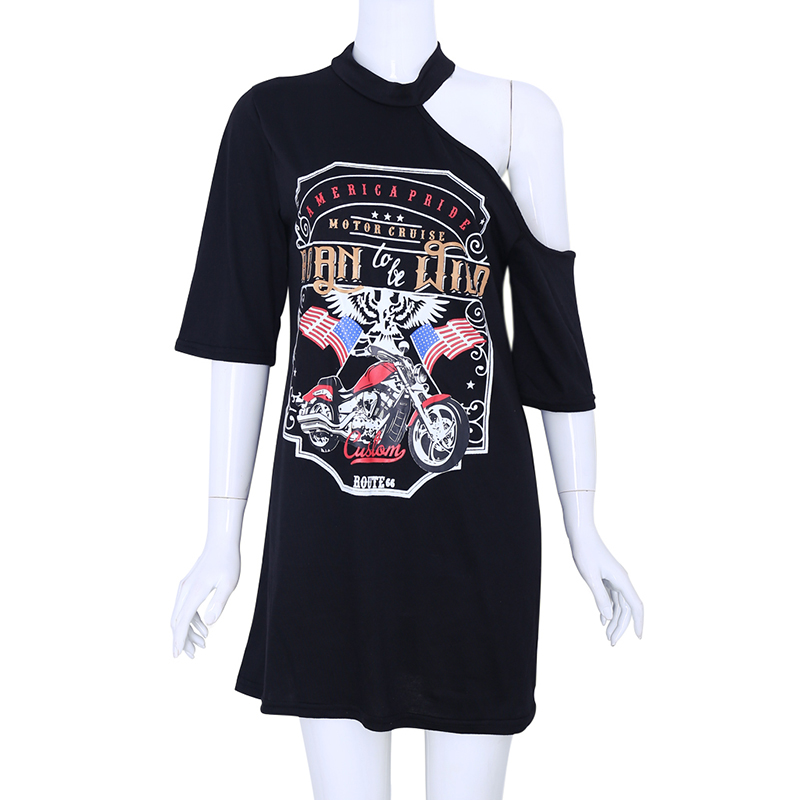 Women Eagle Motorcycle Print Hanging neck Strapless Dress T-shirt Girls Fashion Halter Vintage Mini Dresses