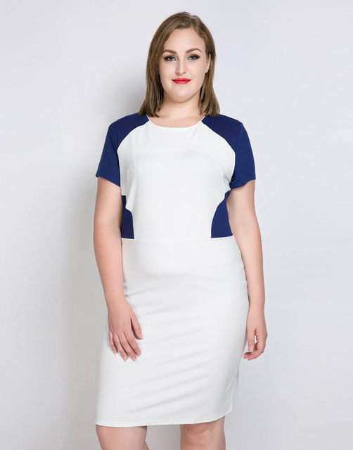 Cute Ann Womens Plus Size Cocktail Party Dress Color Blocked Short