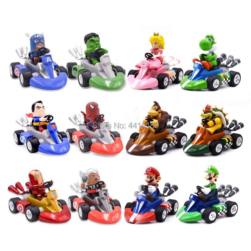 6x Super Mario Bros Kart Luigi Peach Bowser Kong Pull Back Racer Car Kids Toys