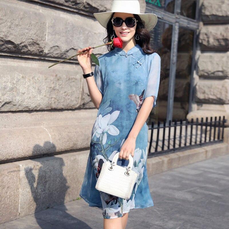 3bd7426d11c2 KMETRAM New Plus Size Vintage Women Knee Length dress Print Dish Buckle  Silk Chinese Wind Dresses Blue Robe Femme Ete 2018 HH128-in Dresses from  Women s ...
