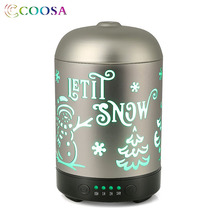 COOSA Silver Christmas Pattern Air Humidifier 100ml Ultrasonic Essential Oil Diffuser 4 Time Setting Cool Mist for Home Office