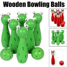 Cartoon Wooden Bowling Balls Children Animals Outdoor Fun & Sports Game Toy(China)