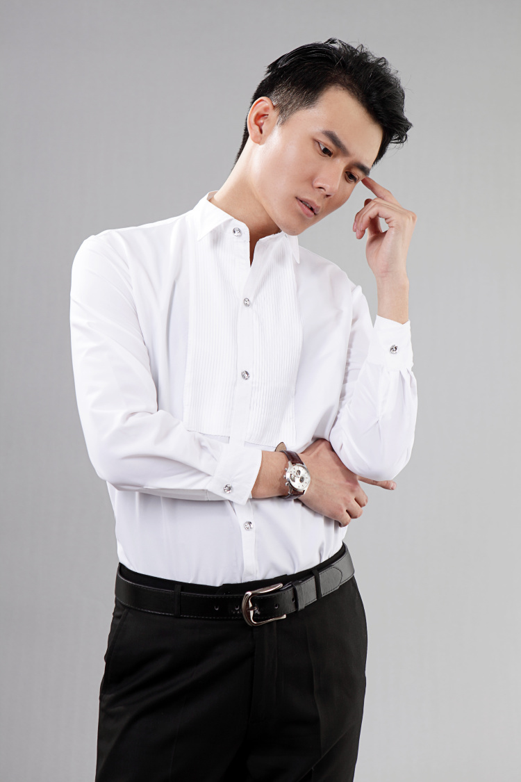 New Style White Long Sleeved Men Shirt Wedding Prom Groom Shirts Wear Bridegroom Man Party 39 44 In Tuxedo From Weddings Events On