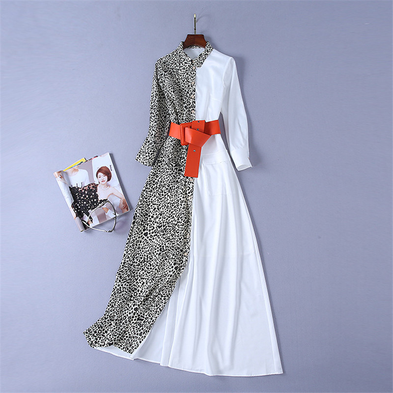 Haute qualité printemps 2019 nouvelle mode piste chemise robe robe femmes à manches longues Maxi robe imprimé léopard Patchwork longue robe