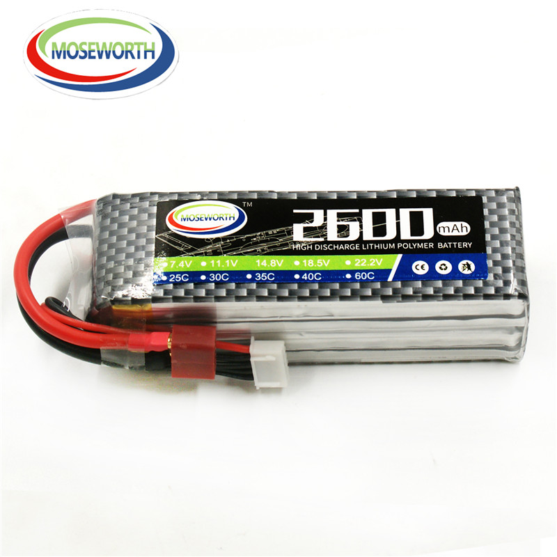 MOSEWORTH 4S RC lipo battery 14.8v 2600mAh 35C For RC quadcopter drone airplane 4s batteria akku free shipping