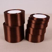 25 ярдов/рулон) коричневая однолицевая атласная лента подарочная упаковка рождественские ленты 32