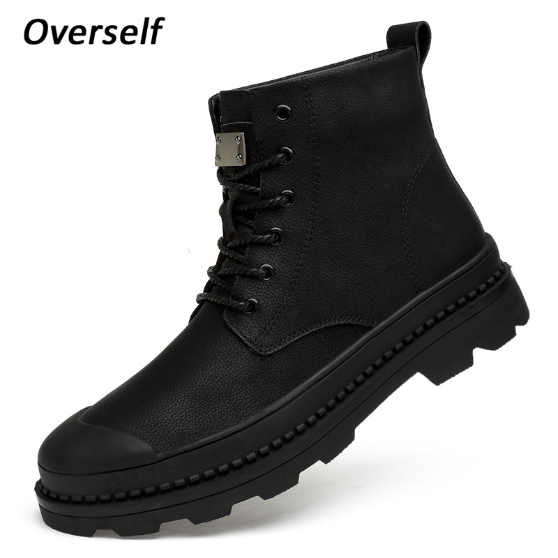 Men Ankle Boots Winter Snow Shoes Man Boot Warm Genuine Leather Mens New Style Men's shoes Footwear Big Sizes 45 46 Four seasons 2018 new designer style metal trend cool zipper hand painted priting mens ankle boots male warm breathable shoes footwear size46