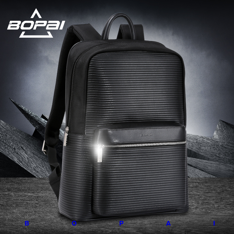 цены  BOPAI Famous Brand Black Preppy Style Leather School Backpack Bag For College Simple Design Men Casual Daypacks mochila male New