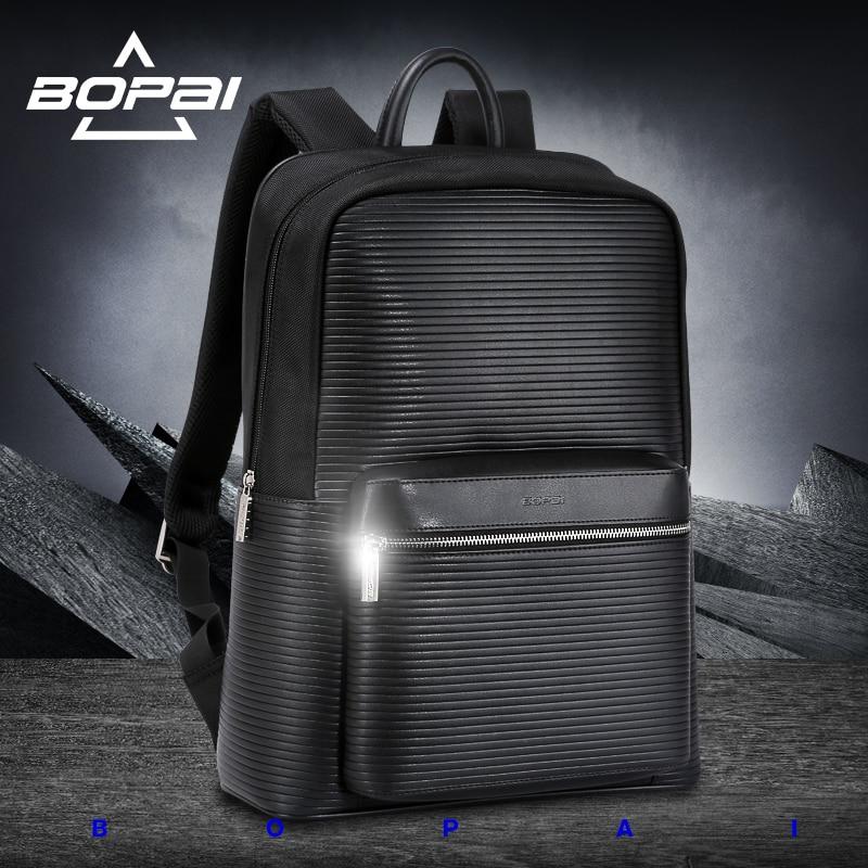 цены  BOPAI Famous Brand Black Preppy Style Leather School Backpack Bag For College Simple Design Men Casual Daypacks mochila male New